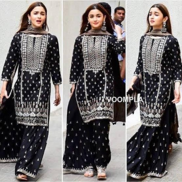 New collection of desi style dress Black and White Embroided  shirt and trouser
