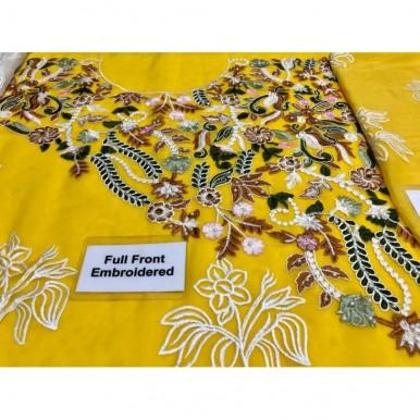 Chiffon Embroidred Dress In Yellow
