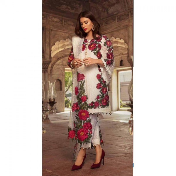 Chiffon Embroidered Dress For Women
