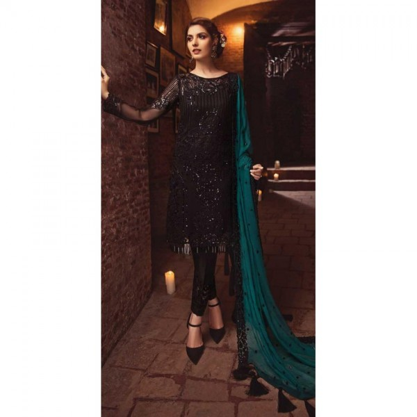 Black Embroidered Dress With Embroidered Dupatta