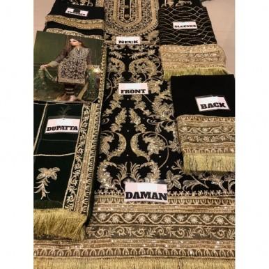 Black And Golden Zari Handwork Party Dress