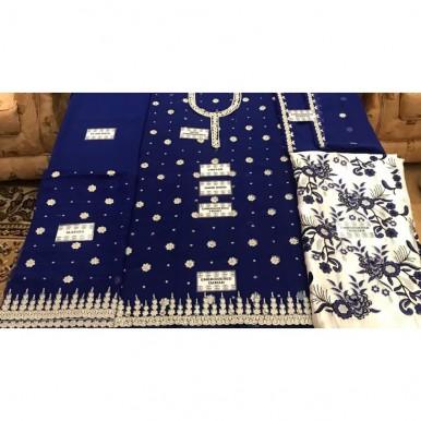 Blue and white Stone Work Chiffon Dress