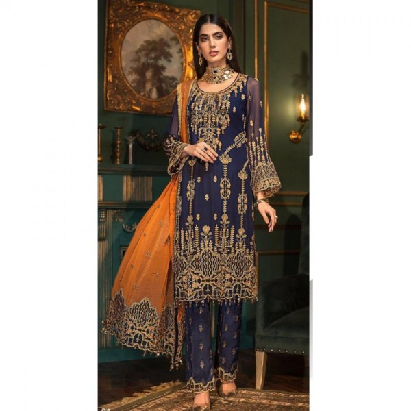 Latest Wedding Collection Fully Embroidered Chiffon Dress with Golden Work