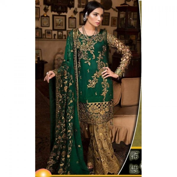 Chiffon Embroidery Party Wear Dress for Womens