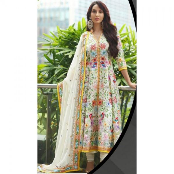 Best Phulkari Dress for Womens white color