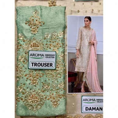 Beautiful Party Wear Dress Organza Fabric with Embroidered Duppata