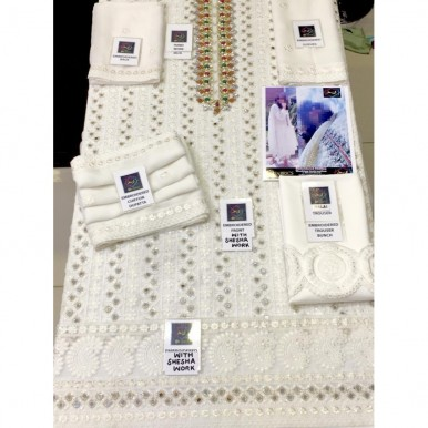 White Gold  Premium chiffon Mirror Work Embroidery