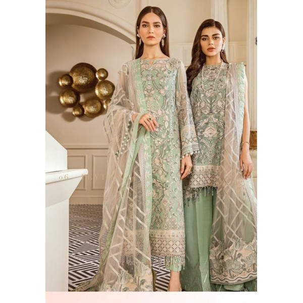 Eid collection with handwork embroidered shirt  and sleeves bunches and plain trouser