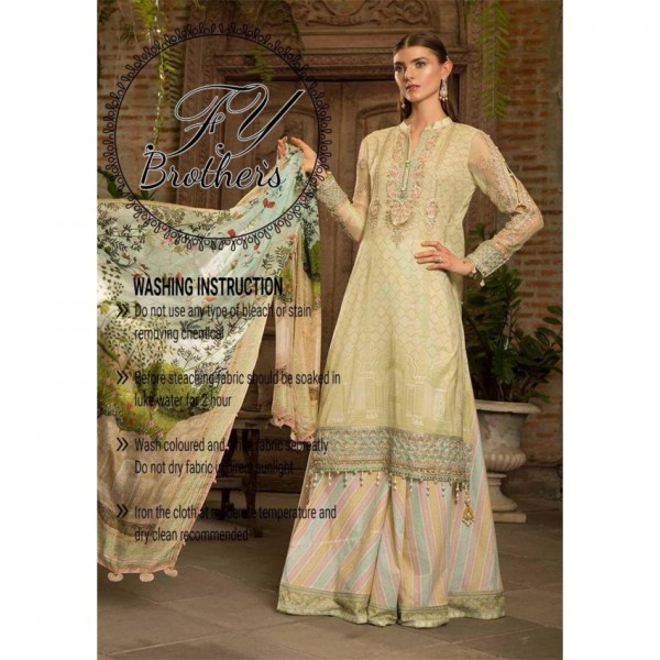 Digital Printed Pure Lawn Front and back with Digital Printed Cotton Trouser