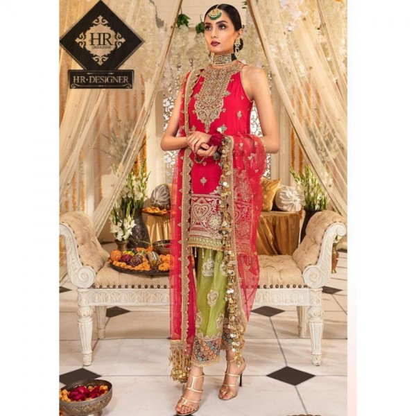 Red Heavy Embroidered Party wear dress for women