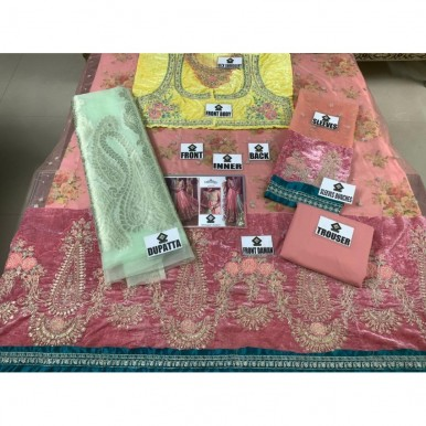Eid collection Embroidered shirt with sleeves bunches  and  malai trouser