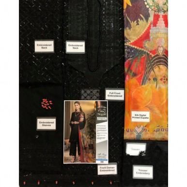 Sequence Work Embroidery Black Dress with Multi Dopatta