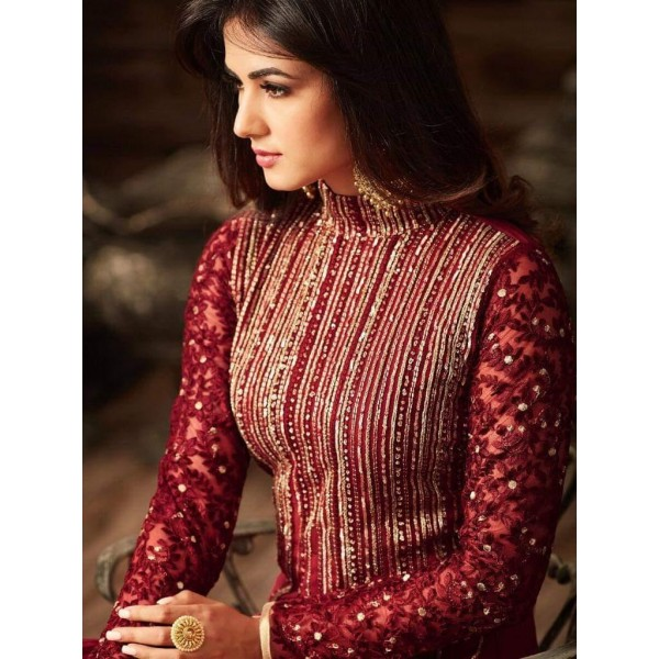 Maroon Color Indian Chiffon Embroidered maxi for woman