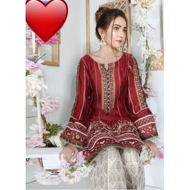 Simple and Nice Ladies Dress with Mirror Work