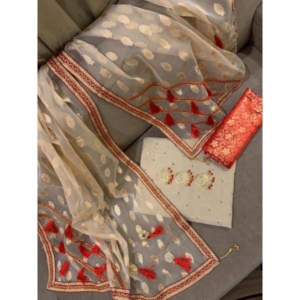 Stylish Jacquard Dress with Organza Dopatta for Her