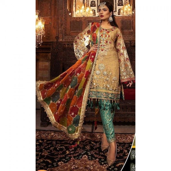 Heavy Embroidered Handwork Dress in Multi Colors