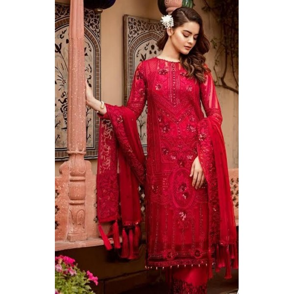 Sequence Work Red Embroidered Dress