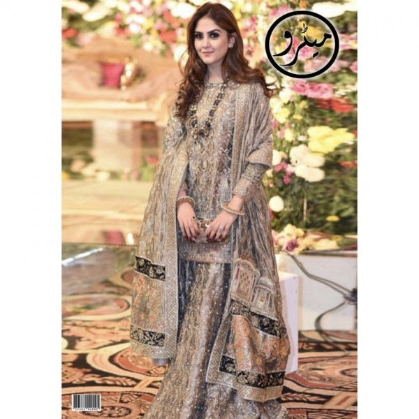 Maysoori And Silk Fabric Embroidered Dress in Grey Color