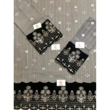 Grey Color Chiffon Embroidered Kurti with Black Borders