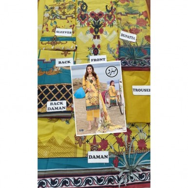 Yellow Color lawn embroidery suit