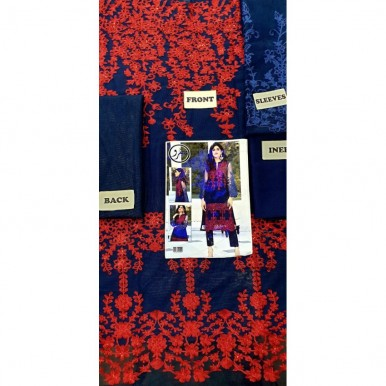Blue Color Net Embroidery kurti for Her