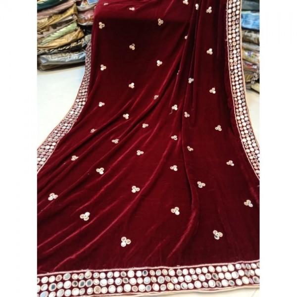Maroon Colour Velvet shawl