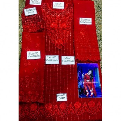 Heavy embroidered Red Colour Dress for Ladies