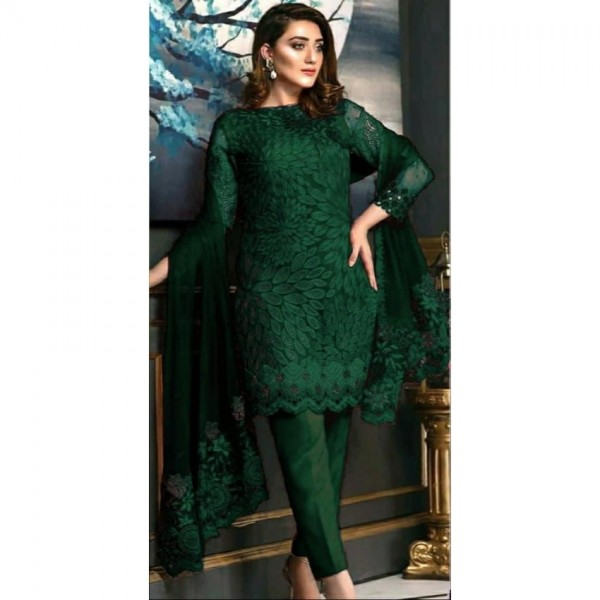 Emerald Green Color Embroidered Dress for Her