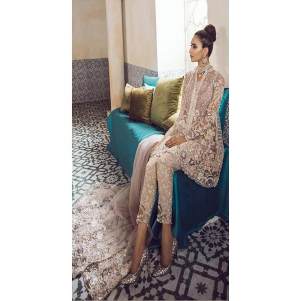 Net fabric fully heavy sequence work dress