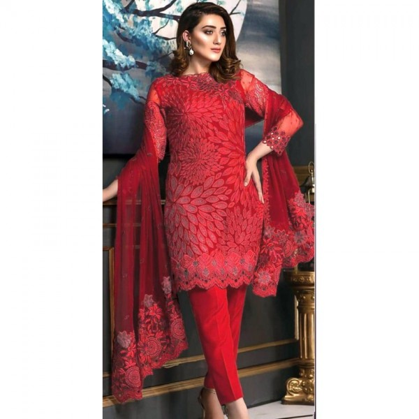 Red Color heavy embroidered Dress