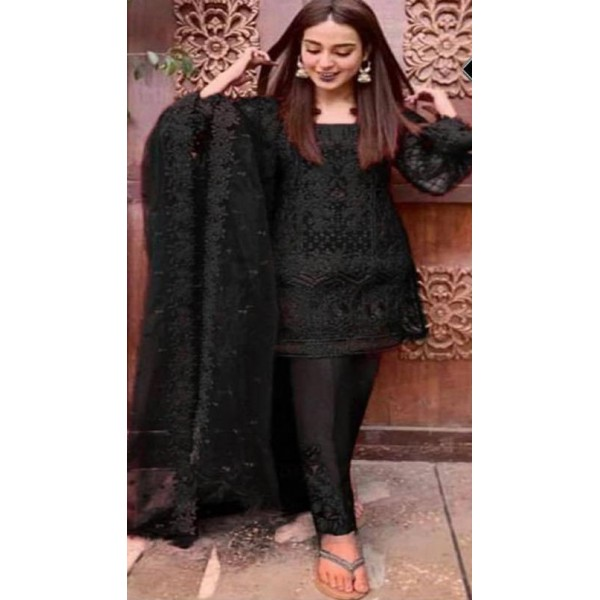 Full Black Embroidered Dress for Her
