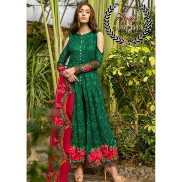 Green and Red Embroidered Dress for Her
