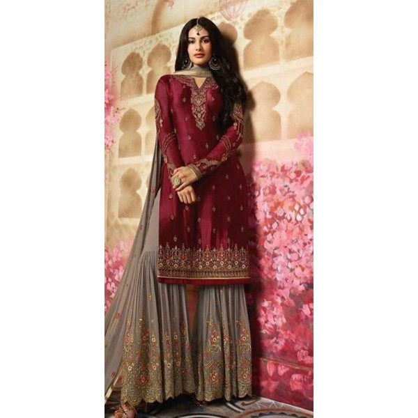 Indian Style Maroon Colour Dress for Ladies