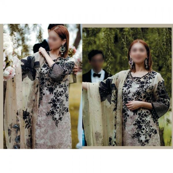 Black Embroidery on Skin Chiffon Dress