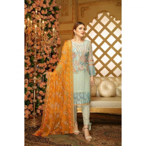 embroidered chiffon dress in blue and orange combination