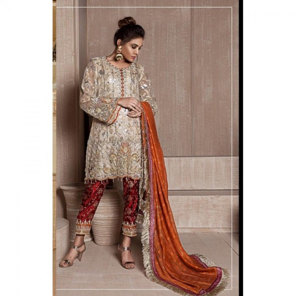 Light colour embroidered dress with stone work