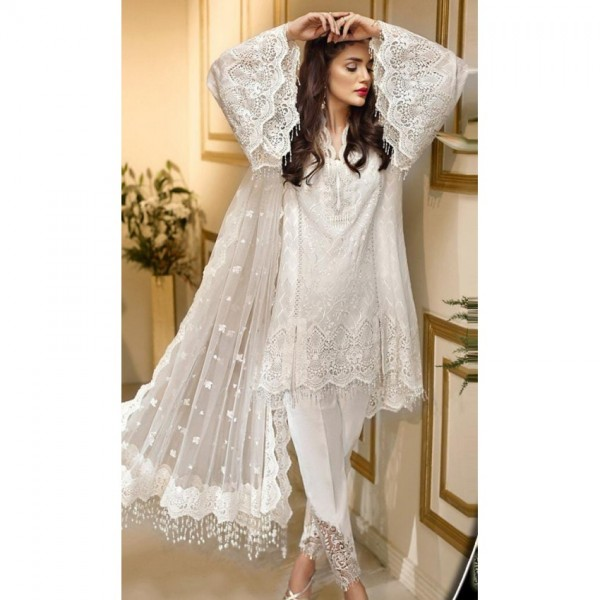 Organza Embroidered Dress in White