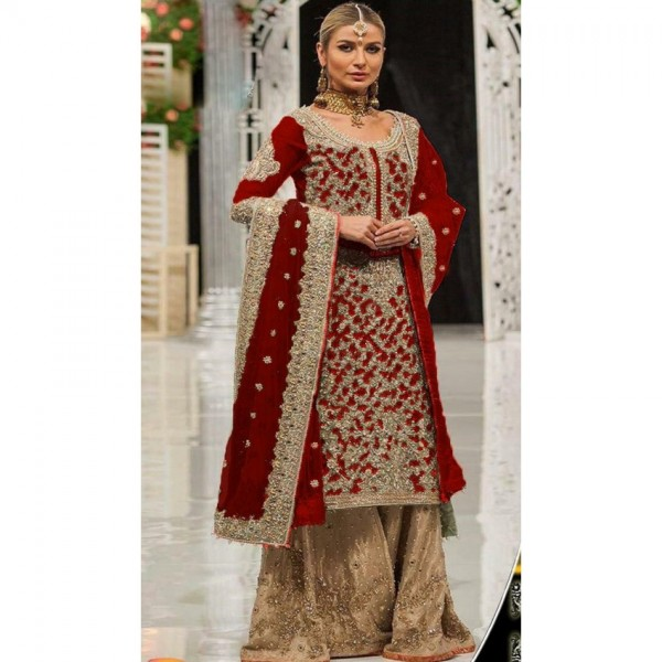 Beautiful Maroon Color Bridal Dress with heavy embroidery