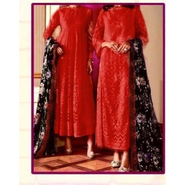 Luxury Dress in Orange Color with Black Embroidered Dopatta