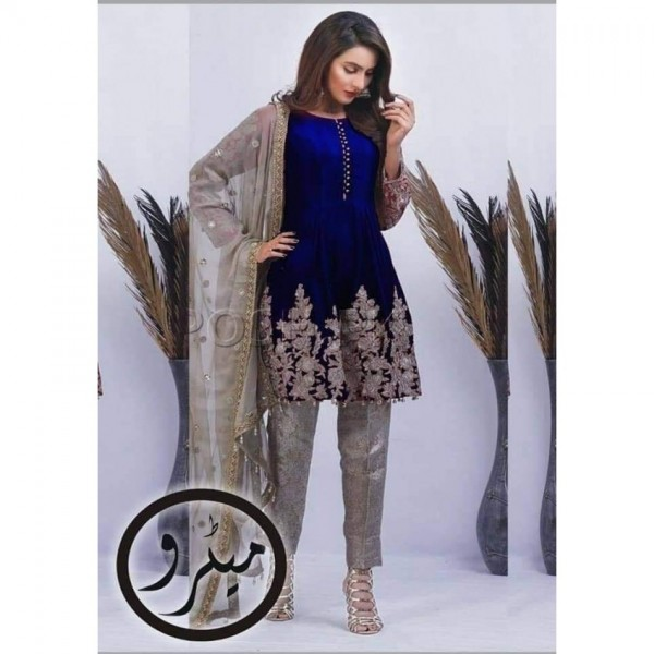 Blue and Skin Combination Chiffon Embroidered Dress for Her