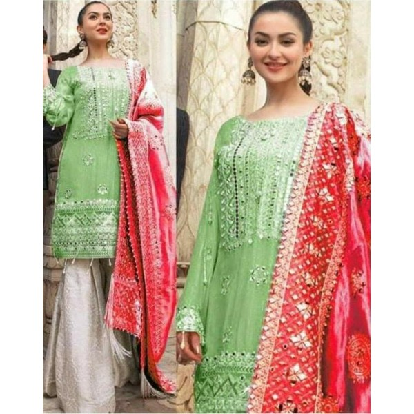 Embroidered With Handwork And Mirror Work