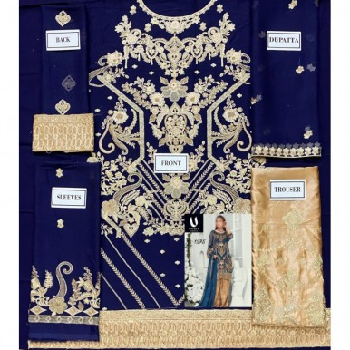 Royal Blue Embroidered Dress for Her