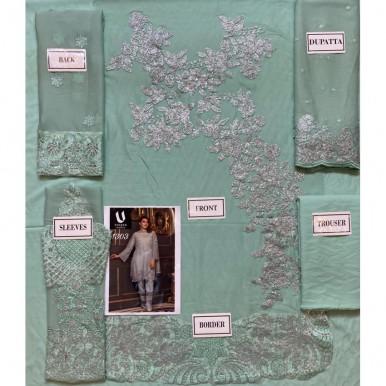 Pista Colour bamber pure chiffon Embroidery Dress