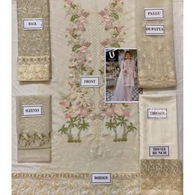 Chiffon Embroidered Dress with Net Dopatta