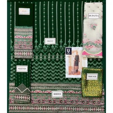 pure chiffon Beautiful green color embroidery dress