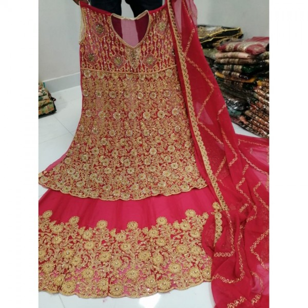 Bridal embroidery lehenga with heavy embroidery