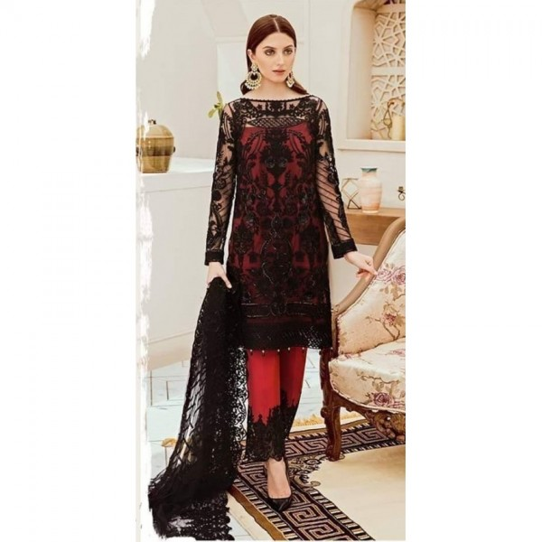 New Net Embroidered Collection in Red and Black Colour
