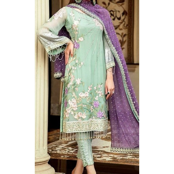Embroidered chiffon handwork Dress in combination with purple