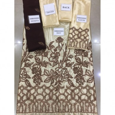 Cream Colour Silk Embroidered Dress for Ladies