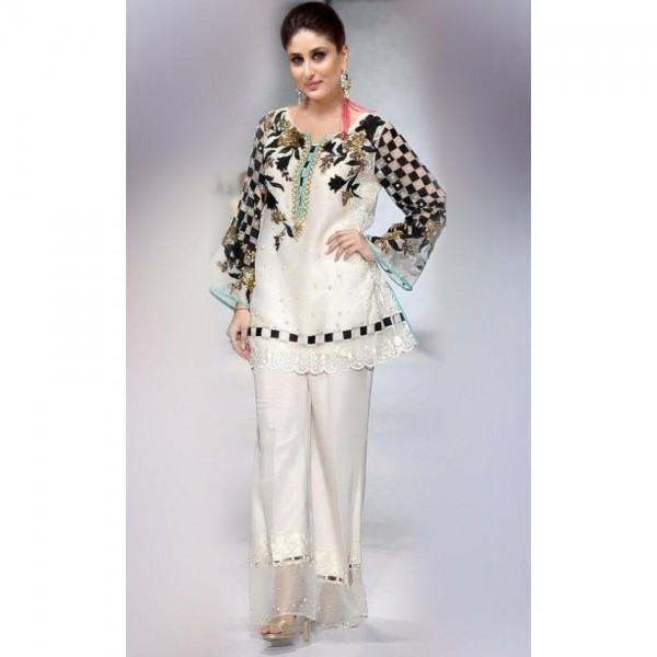 Party wear White Embroidered dress
